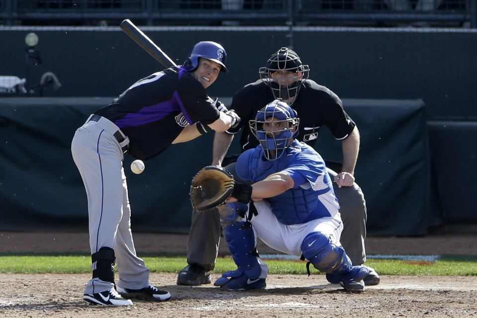 Photo - Colorado Rockies' Corey Dickerson moves back from an inside pitch thrown by Kansas City Royals relief pitcher Greg Holland during the eighth inning in a spring training baseball game Tuesday, March 19, 2013, in Surprise, Ariz. (AP Photo/Gregory Bull)