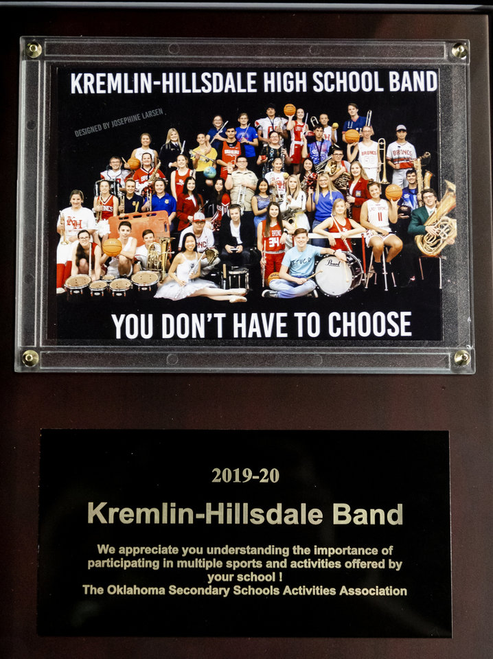 Photo - The Kremlin-Hillsdale band was honored for a promotional photo that went viral at halftime of the Class B boys state tournament semi-final basketball game between Hammon vs Leedey in the Jim Norick Arena at State Fair Park in Oklahoma City, Okla. on Friday, March 6, 2020.  [Chris Landsberger/The Oklahoman]
