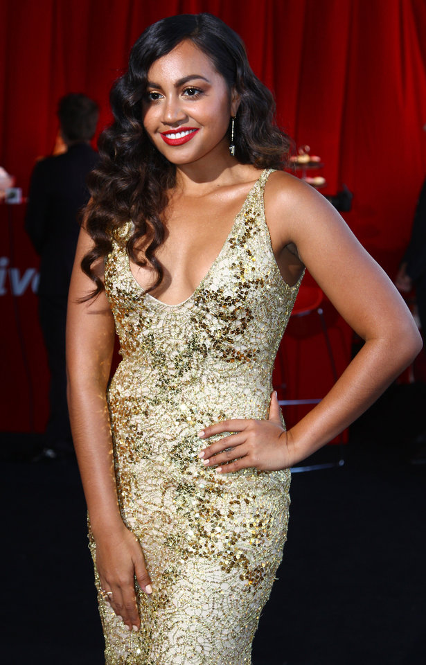 Australian R & B singer Jessica Mauboy arrives for the Australian music industry Aria Awards in Sydney, Thursday, Nov. 29, 2012. (AP Photo/Rick Rycroft)