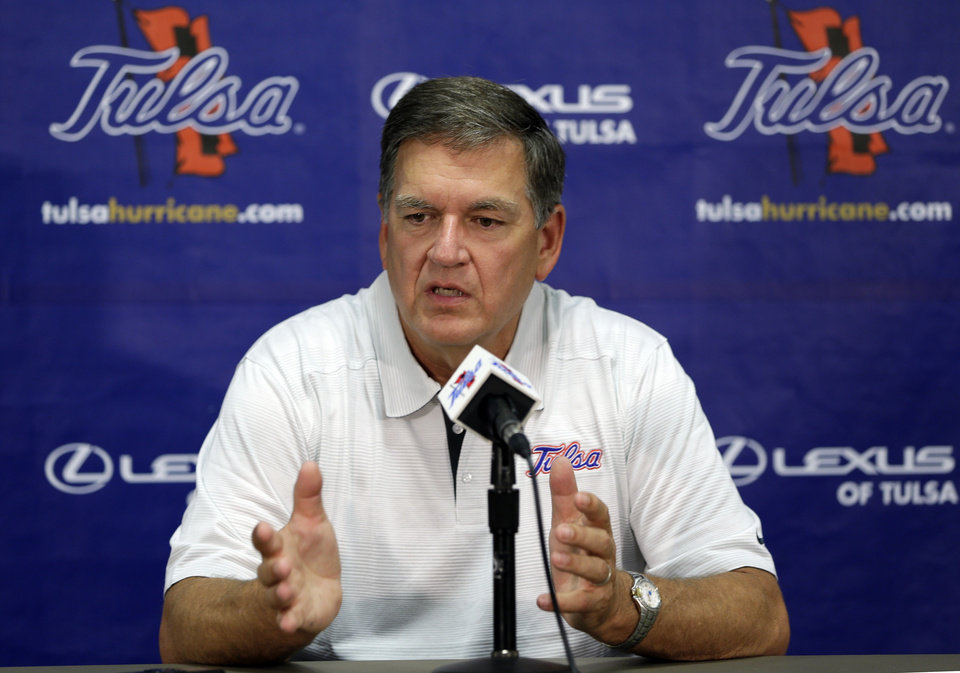 Photo - Tulsa head coach Bill Blankenship speaks during a news conference at the University of Tulsa's NCAA college football media day, Monday, Aug. 5, 2013, in Tulsa, Okla. (AP Photo/Tulsa World, Mike Simons) ORG XMIT: OKTUL102