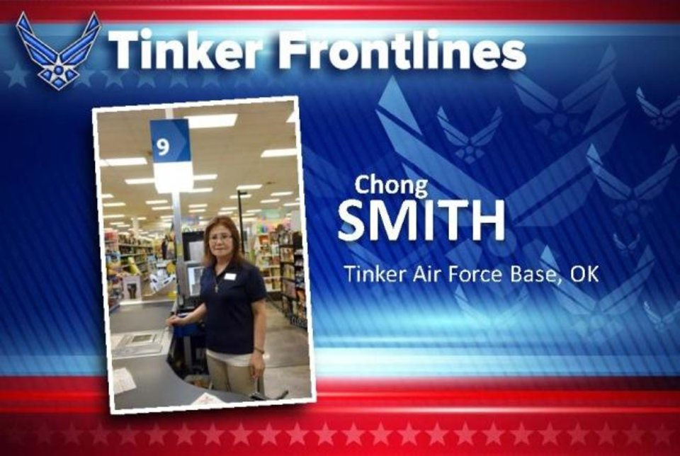 Photo -  Chong Smith is a cashier at the Tinker Base Exchange and has worked there for 12 years. Originally from South Korea, Smith now lives in Edmond and enjoys listening to music. Smith says she loves working at the Tinker Base Exchange and regularly promotes the Military Star Card to her customers and helps them with a smile on her face. [KELLY WHITE/USAF]