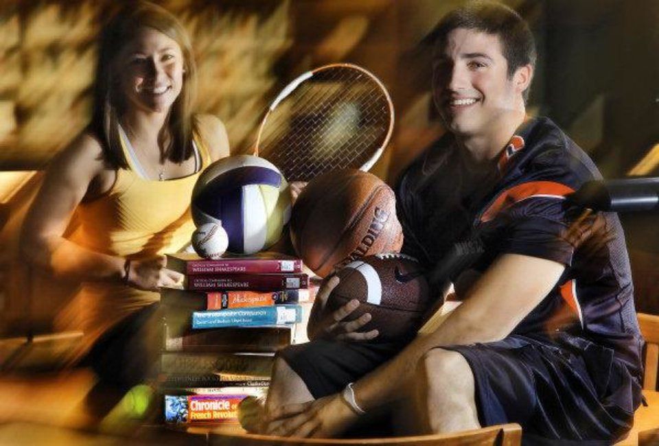 Photo - Scholar athletes Carissa Villaflor, of Heritage Hall and David Glidden of Mustang High School poses for a photo at Heritage Hall Library on Tuesday, June 14, 2011, in Oklahoma City, Okla. Photo by Chris Landsberger, The Oklahoman ORG XMIT: KOD