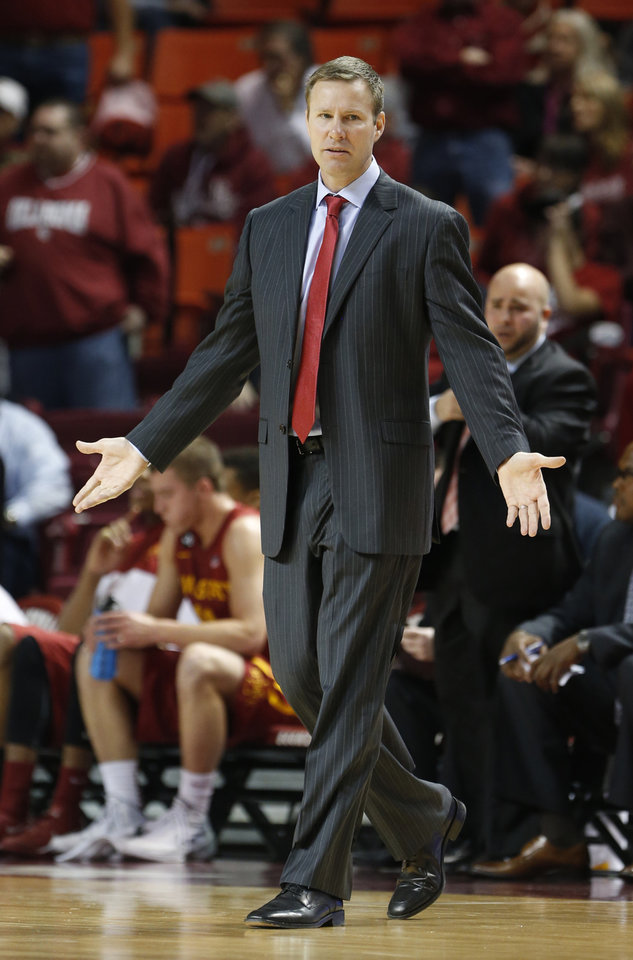 Photo - Cyclones' head coach Fred Hoiberg reacts to play as the University of Oklahoma Sooners (OU) men defeat the Iowa State Cyclones (ISU) 87-82 in NCAA, college basketball at The Lloyd Noble Center on Saturday, Jan. 11, 2014  in Norman, Okla. Photo by Steve Sisney, The Oklahoman