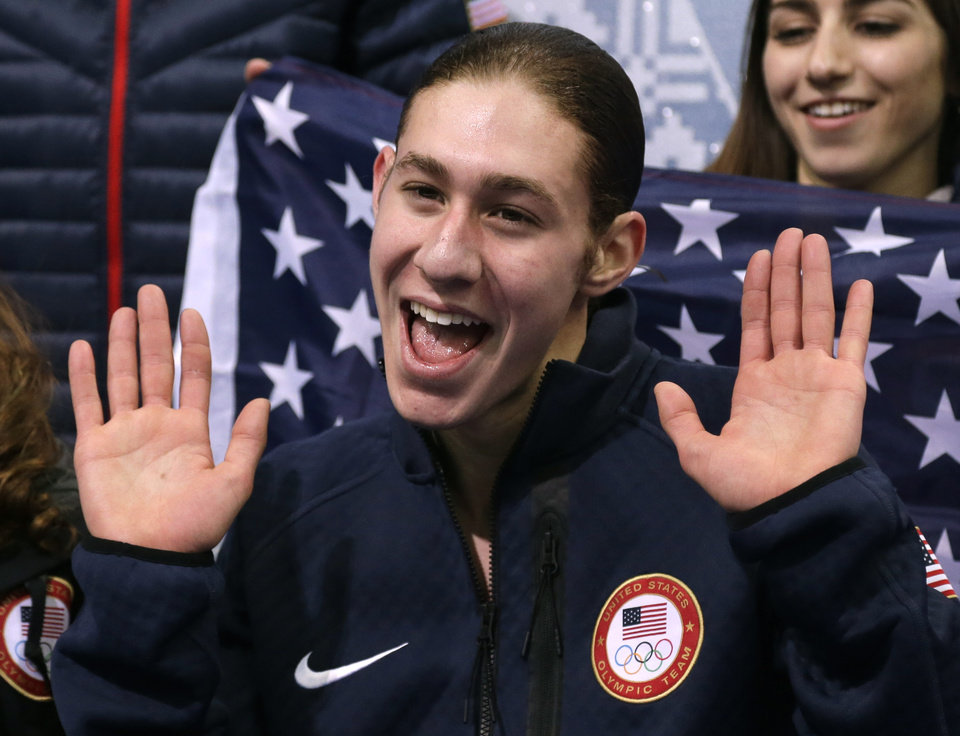 Photo - Jason Brown of the United States waves to spectators after competing in the men's team free skate figure skating competition at the Iceberg Skating Palace during the 2014 Winter Olympics, Sunday, Feb. 9, 2014, in Sochi, Russia. (AP Photo/Darron Cummings, Pool)