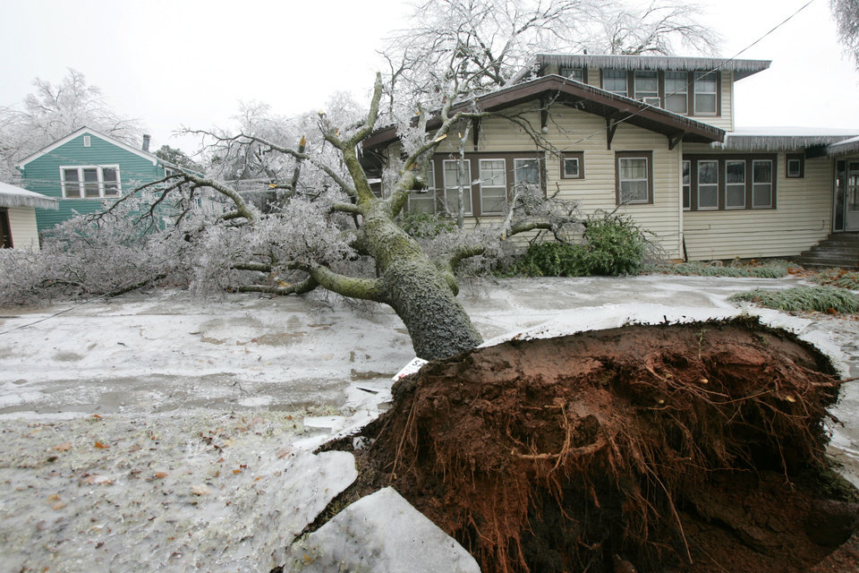 WINTER / COLD / WEATHER / ICE STORM / DAMAGE / AFTERMATH: A tree fell due to heavy ice near NW 17th and Walker in Heritage Hills in Oklahoma City , Okla. Dec. 10, 2007.  BY STEVE GOOCH, THE OKLAHOMA.  ORG XMIT: KOD