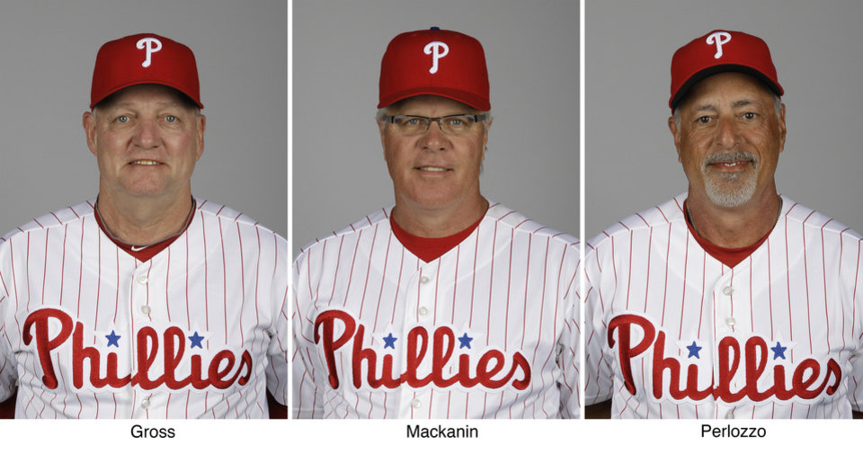 In these March 1, 2012, photos, Philadelphia Phillies hitting coach Greg Gross, left, bench coach Pete Mackanin, center, and first base coach Sam Perlozzo pose for photos during baseball spring training in Clearwater, Fla. Immediately after finishing with a .500 record, the Phillies fired the three coaches. The club announced the changes after its season ended with a 3-1 loss at the Washington Nationals on Wednesday, Oct. 3, 2012. The Phillies finished 81-81 and in third place in the NL East. (AP Photos/Matt Slocum)