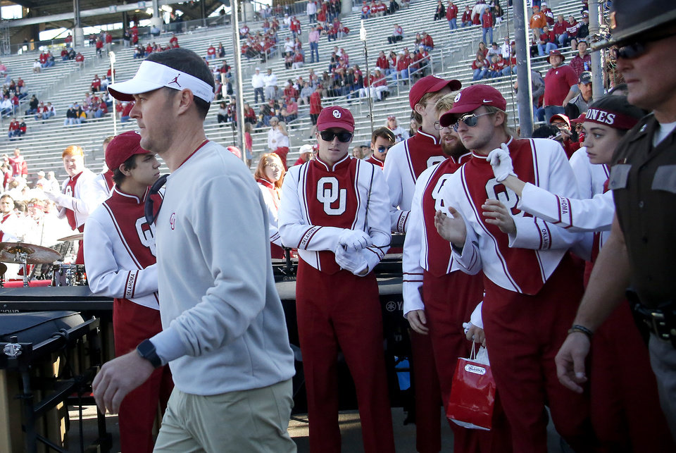 Record - Oklahoma coach Lincoln Riley walks on to the discipline sooner than the Crimson River Showdown college football sport between the University of Oklahoma Sooners (OU) and the Texas Longhorns (UT) at Cotton Bowl Stadium in Dallas, Saturday, Oct. 12, 2019. [Sarah Phipps/The Oklahoman]