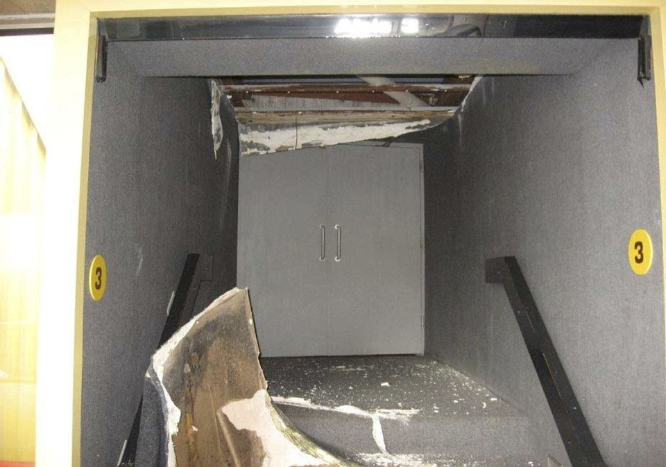 Photo - A view of damaged drywall ceiling in Theatre area is shown in this photo.  Provided