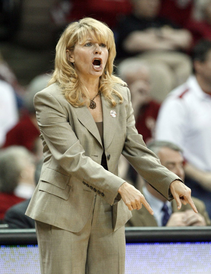 Head Coach Sherri Coale gestures from the bench in the first half as the University of Oklahoma (OU) plays Georgia Tech in round two of the 2009 NCAA Division I Women\'s Basketball Tournament at Carver-Hawkeye Arena at the University of Iowa in Iowa City, IA on Tuesday, March 24, 2009. PHOTO BY STEVE SISNEY, THE OKLAHOMA