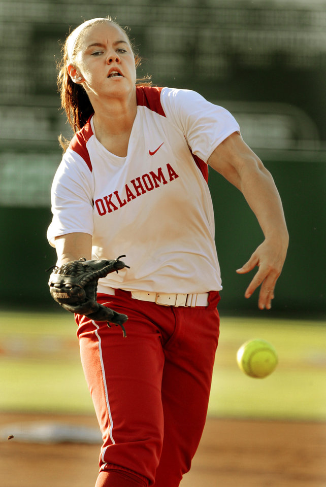 Sooner left-handed pitcher Keilani Ricketts pitches as the University of Oklahoma (OU) Sooners play the Oklahoma State University Cowgirls in NCAA college softball at Marita Hines Field on Wednesday, April 25, 2012, in Norman, Okla. Photo by Steve Sisney, The Oklahoman