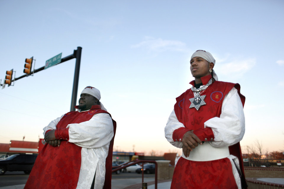 Yaigab Gabar, left, and Dabar Laahri with the Israelite Church of God in Christ preach on the corner of Martin Luther King Avenue and 23rd Street in Oklahoma City, Okla., Monday, Jan. 11, 2010. Photo by Sarah Phipps, The Oklahoman
