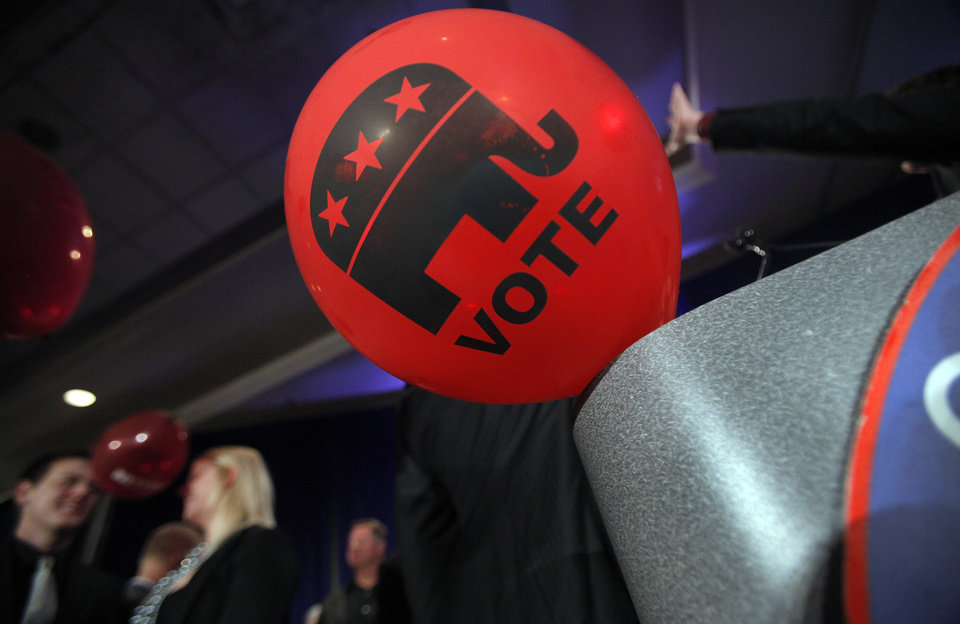 Photo - A balloon floats across the podium as the celebration ends at the republican Watch Party at the Marriott on Tuesday, Nov. 2, 2010, in Oklahoma City, Okla.   Photo by Chris Landsberger, The Oklahoman