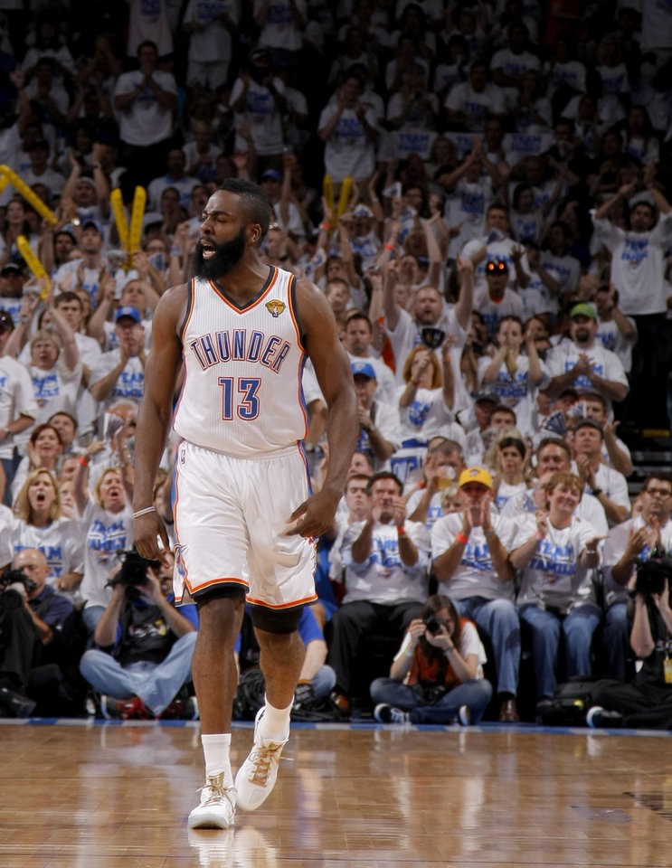 Oklahoma City's James Harden (13) reacts during Game 2 of the NBA Finals between the Oklahoma City Thunder and the Miami Heat at Chesapeake Energy Arena in Oklahoma City, Thursday, June 14, 2012. Photo by Sarah Phipps, The Oklahoman