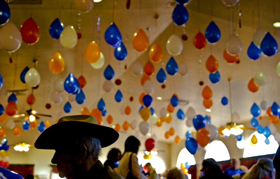 Balloons cover the ceiling as residents prepare to play bingo during the Oklahoma City Thunder's 1000th community appearance at Ranchwood Nursing Home on Tuesday, Nov. 27, 2012, in Yukon, Okla.   Photo by Chris Landsberger, The Oklahoman