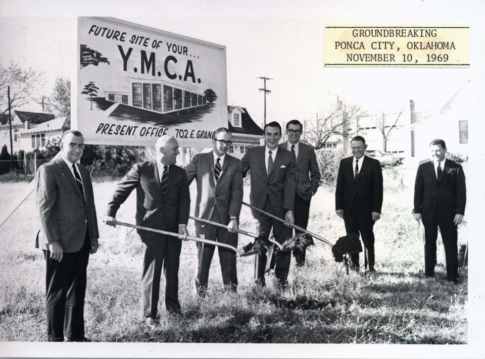 Representatives of LWPB Architecture are among those breaking ground for the Ponca City YMCA in this 1969 photo. - PROVIDED BY LWPB ARCHITECTURE