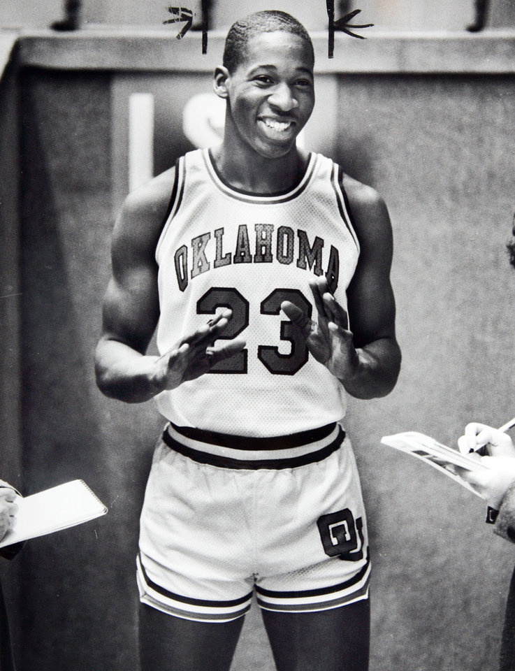 Former OU basketball player Wayman Tisdale. As expected, Wayman Tisdale of OU was the center of attention on Wednesday. Staff photo by Doug Hoke. Photo taken 11/16/1983, Photo published 11/17/1983, 3/15/1984, 4/20/1984, 4/23/1984, 5/11/1984, 5/13/1985 in The Daily Oklahoman. ORG XMIT: KOD