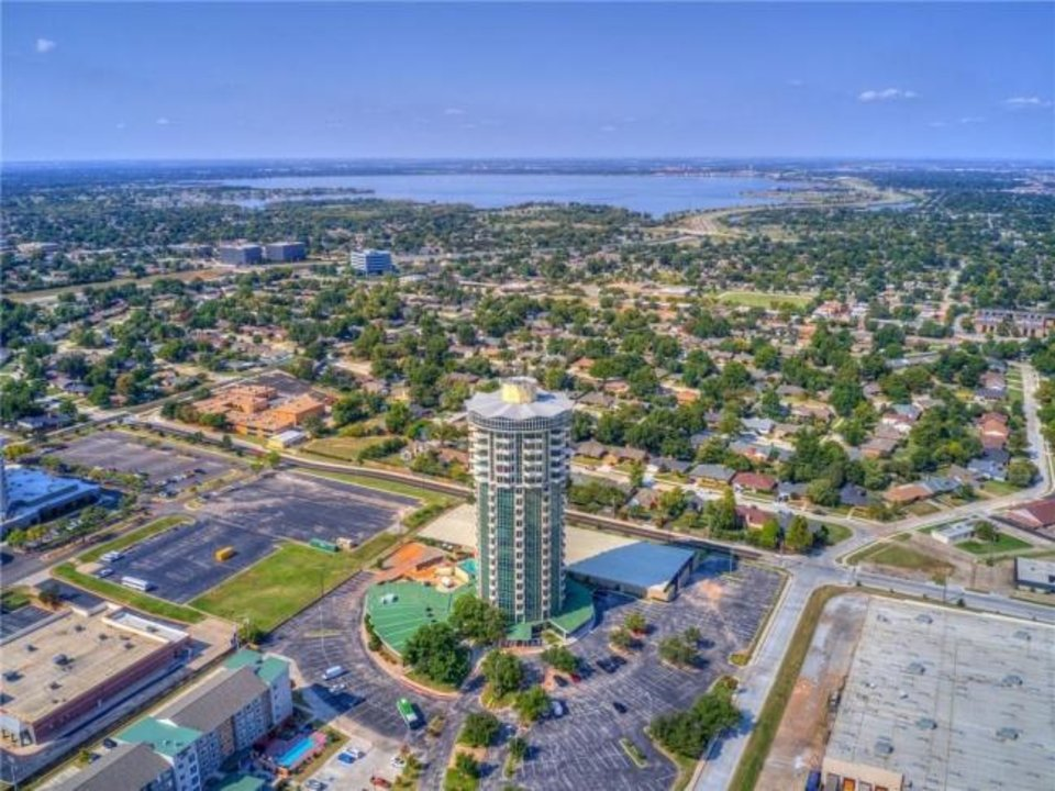Photo -  Aerial view of The 360 at Founders Plaza, 5900 Mosteller Drive, with Lake Hefner in the distance. No. 92 is the Listing of the Week. [PHOTO PROVIDED]