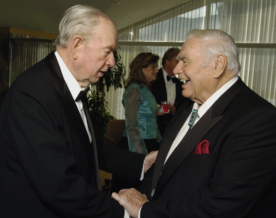 Photo - Actor Ernest Borgnine (right) speaks with former Oklahoma governor Henry Bellmon at a reception before the Western Heritage Awards at the National Cowboy & Western Heritage Museum in Oklahoma City, Oklahoma on Saturday,  April 16, 2005.   Photo by Steve Sisney/The Oklahoman