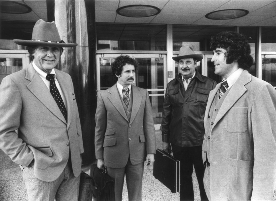 Photo - Gerald Spence, lead attorney, Arthur Angel, Bill Silkwood and Dan Sheehan. photo taken March 1979. Karen Silkwood, Kerr McGee employee that worked at the plutonium plant near Cresent and the Cimmaron River.
