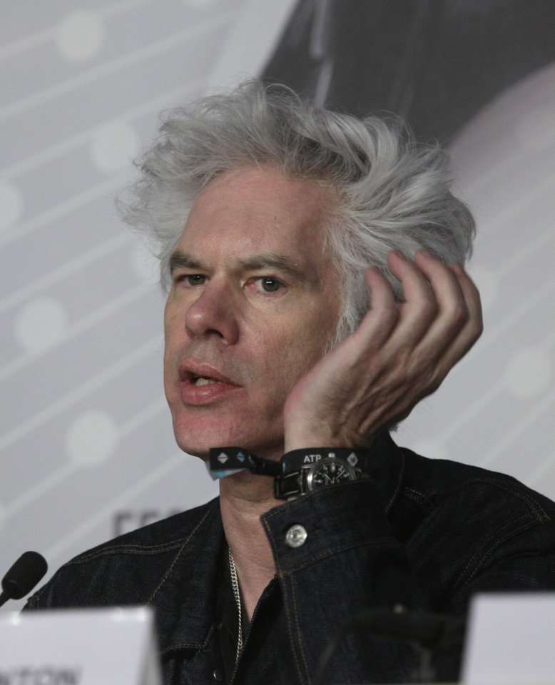 Photo - Director Jim Jarmusch speaks during a press conference for the film Only Lovers Left Alive at the 66th international film festival, in Cannes, southern France, Saturday, May 25, 2013. (AP Photo/Virginia Mayo)