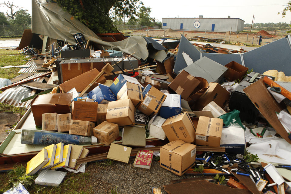 A storage building near the stadium was damaged by the storm in Little Axe on Monday, May 10, 2010, in Norman, Okla.  Photo by Steve Sisney, The Oklahoman