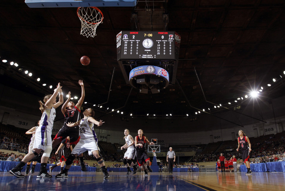 Photo - Frontier's Marissa Goodman shoots during the Class A girls state championship high school basketball game between Okarche and Frontier at the State Fair Arena in Oklahoma City,  Saturday, March 3, 2012. Photo by Sarah Phipps, The Oklahoman