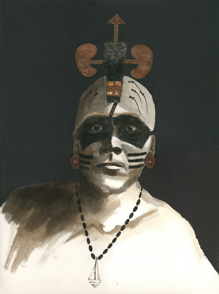 A painting of a Spiro warrior.  PHOTO PROVIDED