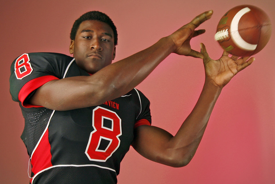 Justin Blackmon, Plainview, poses for a photo in the OPUBCO studio for The Oklahoman\'s All-State Football Team, in Oklahoma City, Wednesday, Dec. 12, 2007. By Nate Billings, The Oklahoman