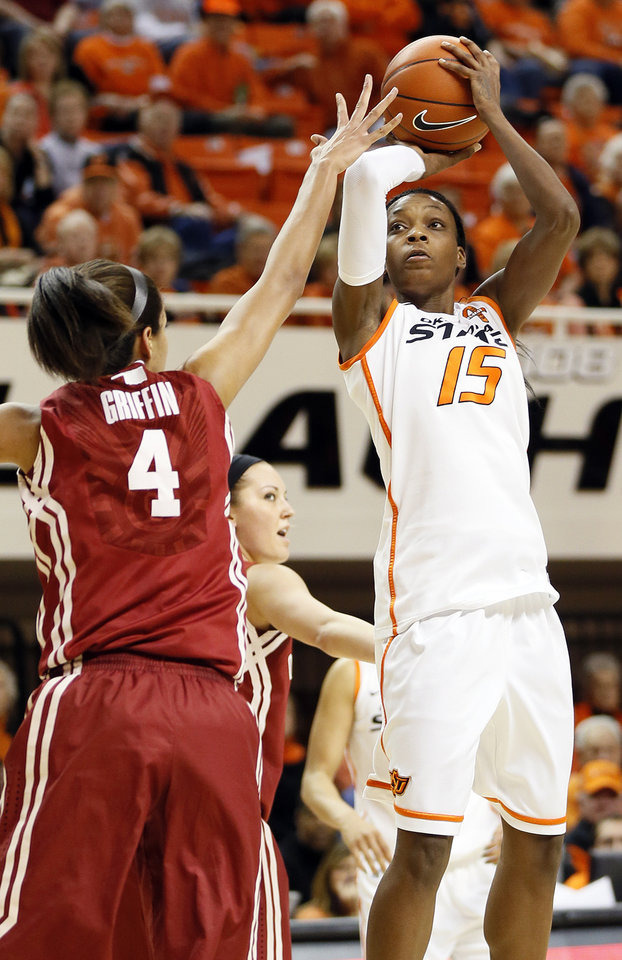 Oklahoma State's Toni Young (15) shoots over Oklahoma's Nicole Griffin (4) during the Bedlam women's college basketball game between Oklahoma State University (OSU) and the University of Oklahoma (OU) at Gallagher-Iba Arena in Stillwater, Okla., Saturday, Feb. 23, 2013. Photo by Nate Billings, The Oklahoman