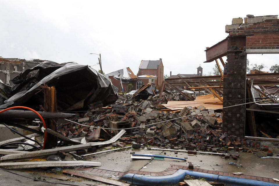 Photo - Buildings are destroyed after a tornado hit downtown Culman, Ala., on Wednesday, April 27, 2011. (AP Photo/Butch Dill)