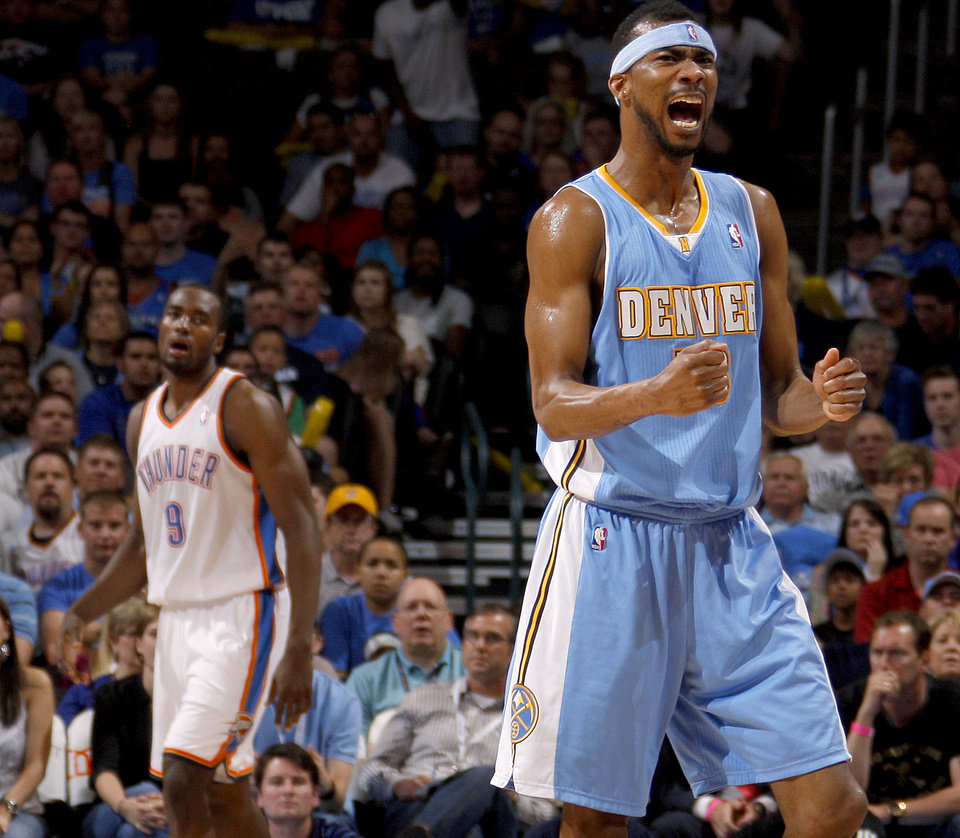 Photo - Denver's Corey Brewer reacts during the NBA basketball game between the Oklahoma City Thunder and the Denver Nuggets at Chesapeake Energy Arena in Oklahoma City, Wednesday, April 25, 2012. Oklahoma City lost 106-101. Photo by Bryan Terry, The Oklahoman