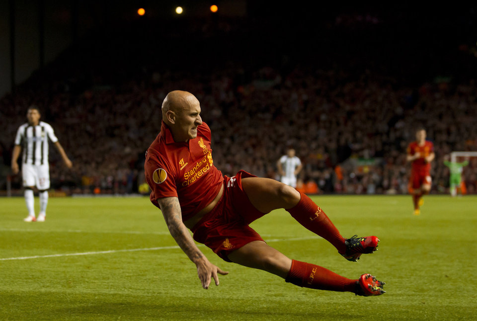 Liverpool\'s Jonjo Shelvey celebrates after scoring against Udinese, during their Europa League Group A soccer match at Anfield Stadium, Liverpool, England, Thursday Oct. 4, 2012. (AP Photo/Jon Super)