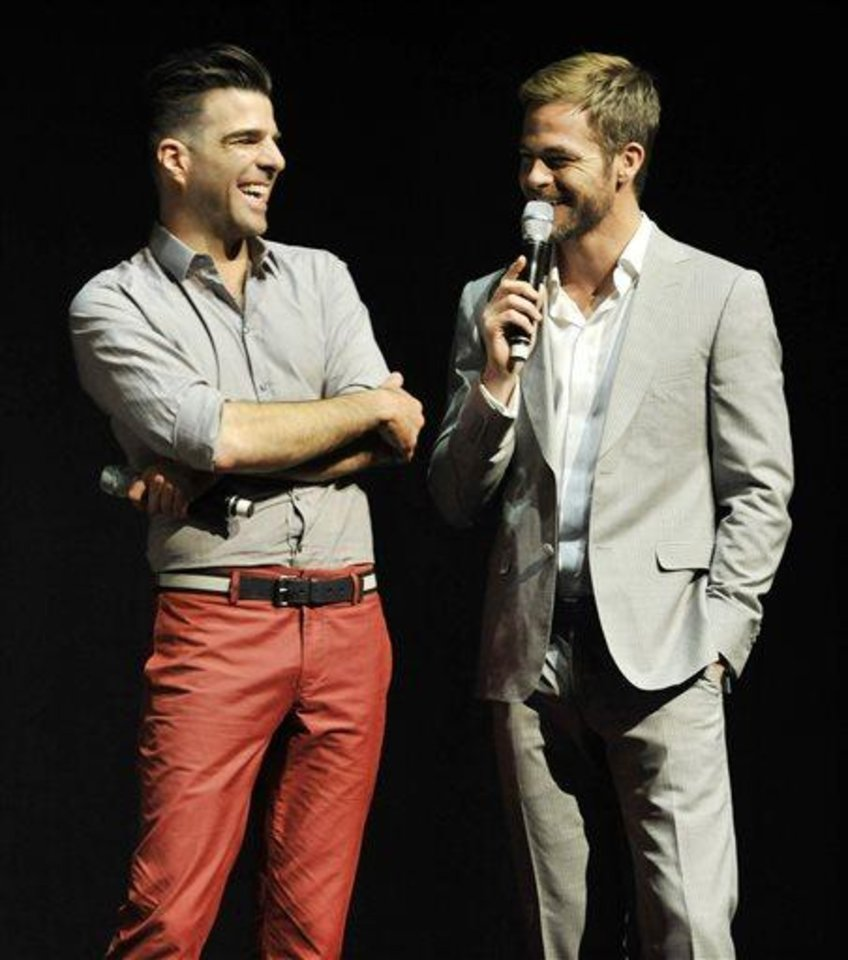 Photo - Zachary Quinto, left, and Chris Pine, cast members in the forthcoming film