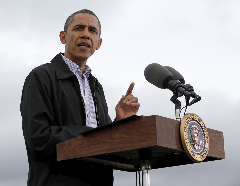 Photo - President Barack Obama speaks about energy at the TransCanada Pipe Yard near Cushing, Okla., Thursday, March 22, 2012. Photo by Nate Billings, The Oklahoman