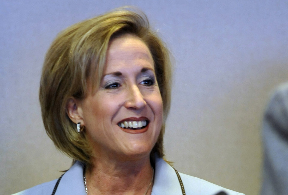 FILE - This Feb. 28, 2012 file photo shows Republican Ann Wagner who won the U.S. Congressional seat in Missouri's 2nd District Tuesday, Nov. 6, 2012 against Democrat Glenn Konen. (AP Photo/Kelley McCall, File)