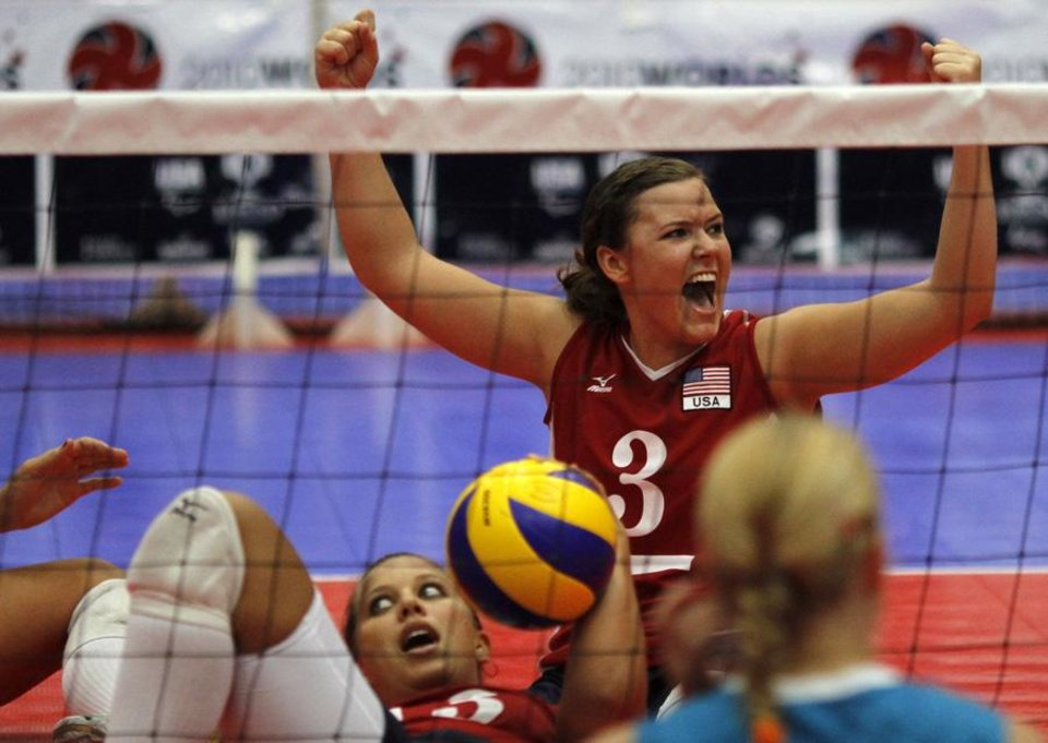 USA / UNITED STATES / U.S./ UNIVERSITY OF CENTRAL OKLAHOMA: Brenda Maymon of the US women's team cheers after receiving a point. The Sitting Volleyball World Championships took place at UCO on Saturday July 17, 2010. Photo by Mitchell Alcala, The Oklahoman  ORG XMIT: KOD