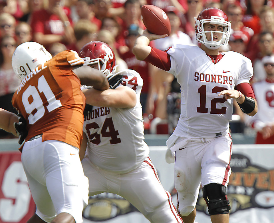 Oklahoma's Landry Jones (12) passes the ball against Texas during the Red River Rivalry college football game between the University of Oklahoma Sooners (OU) and the University of Texas Longhorns (UT) at the Cotton Bowl in Dallas, Saturday, Oct. 8, 2011. Photo by Chris Landsberger, The Oklahoman
