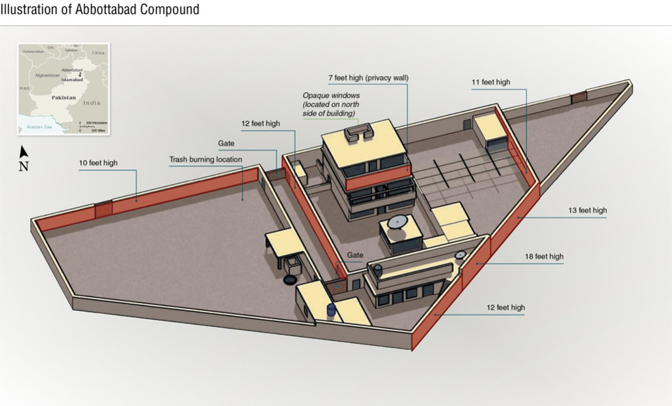 Photo - This undated artist rendering handout provided by the CIA shows the Abbottabad compound in Pakistan where American forces in Pakistan killed Osama bin Laden, the mastermind behind the Sept. 11, 2001 terrorist attacks. (AP Photo/CIA)    ORG XMIT: WX108