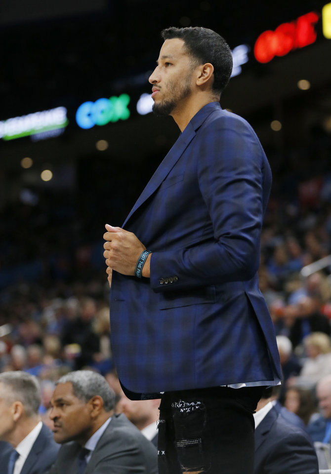 Photo - Oklahoma City's Andre Roberson (21) watches from the bench area during an NBA basketball game between the Oklahoma City Thunder and the Washington Wizards at Chesapeake Energy Arena in Oklahoma City, Friday, Oct. 25, 2019. [Nate Billings/The Oklahoman]