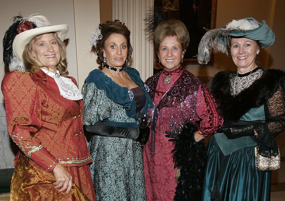 Photo - Fashion was the scene at the Oklahoma Centennial Statehood Inaugural Ball, Saturday, Nov. 17, 2007, at the Guthrie Scottish Rite Masonic Center, in Guthrie, Okla. Pictured in 1900's-period dress are Sharon Fernandez, left, of Spencer, Okla.,  Joyce Sroufe, of Guthrie, Linda Greenshields, Red Rock, Okla, and Linda Hendren, of Guthrie, right. By Bill Waugh, The Oklahoman
