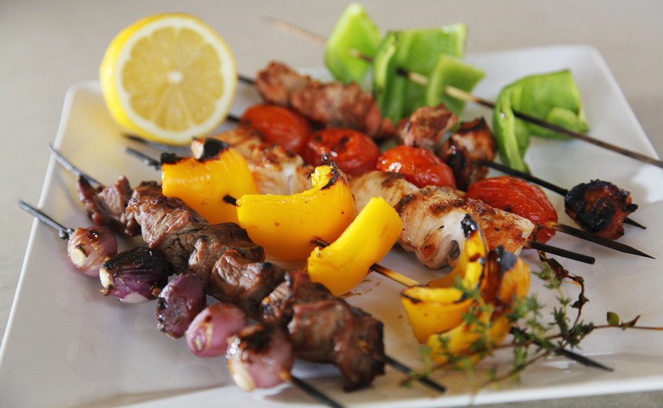 Photo - Grilled steak, chicken and pork kabobs with vegetables in Oklahoma City, Friday, May 25, 2012. Photo by Nate Billings, The Oklahoman