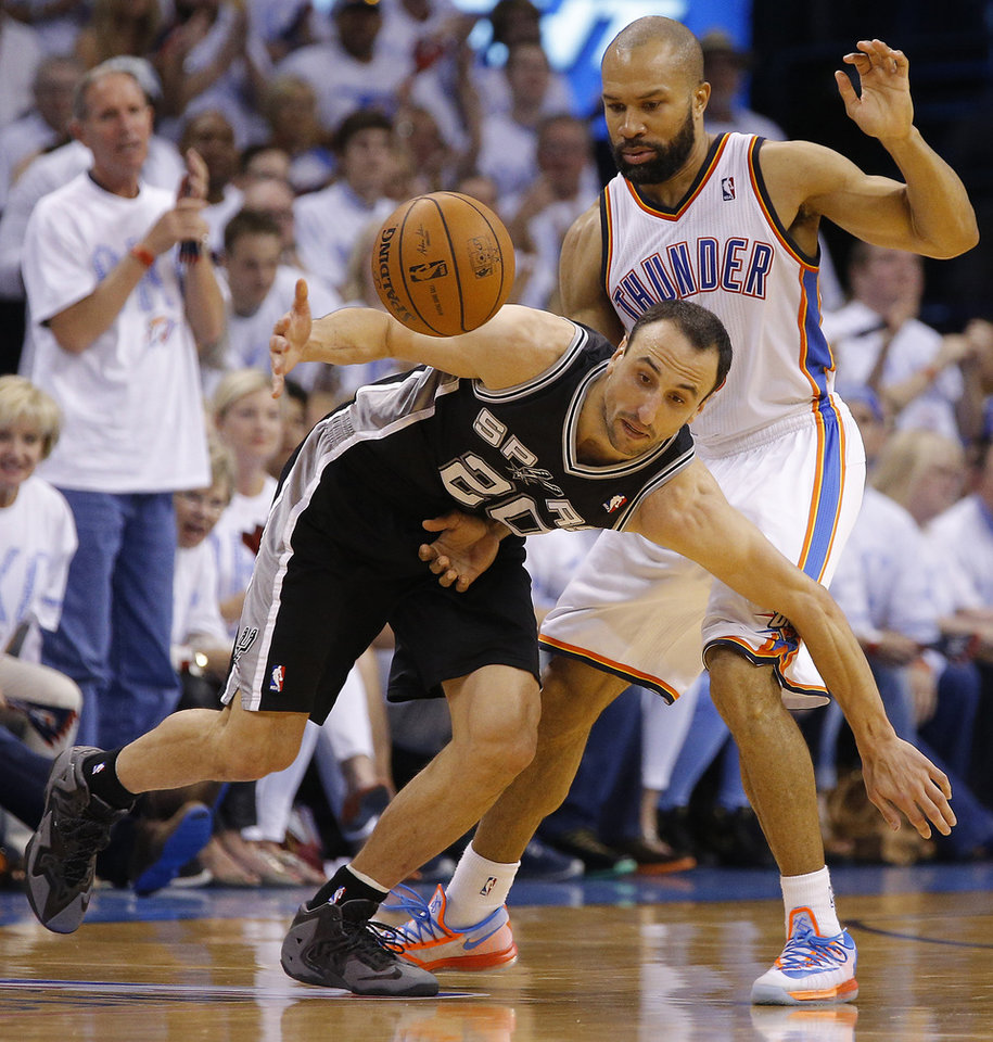 Photo - Oklahoma City's Derek Fisher (6) defends San Antonio's Manu Ginobili (20) during Game 6 of the Western Conference Finals in the NBA playoffs between the Oklahoma City Thunder and the San Antonio Spurs at Chesapeake Energy Arena in Oklahoma City, Saturday, May 31, 2014. Oklahoma City lost 112-107. Photo by Bryan Terry, The Oklahoman