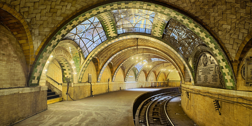 Photo - This undated photo provided by the Museum of the City of New York shows tile vaulting by the Gustavino company in New York's old City Hall Subway Station.  Rafael Guastavino and his son Rafael Jr., are the subjects of the new exhibition