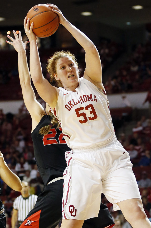 Oklahoma's Joanna McFarland (53)  grabs a rebound in the second half during a women's college basketball game between the University of Oklahoma (OU) and Cal State Northridge at the Lloyd Noble Center in Norman, Okla., Saturday, Dec. 29, 2012. OU won, 79-57.  Photo by Nate Billings, The Oklahoman