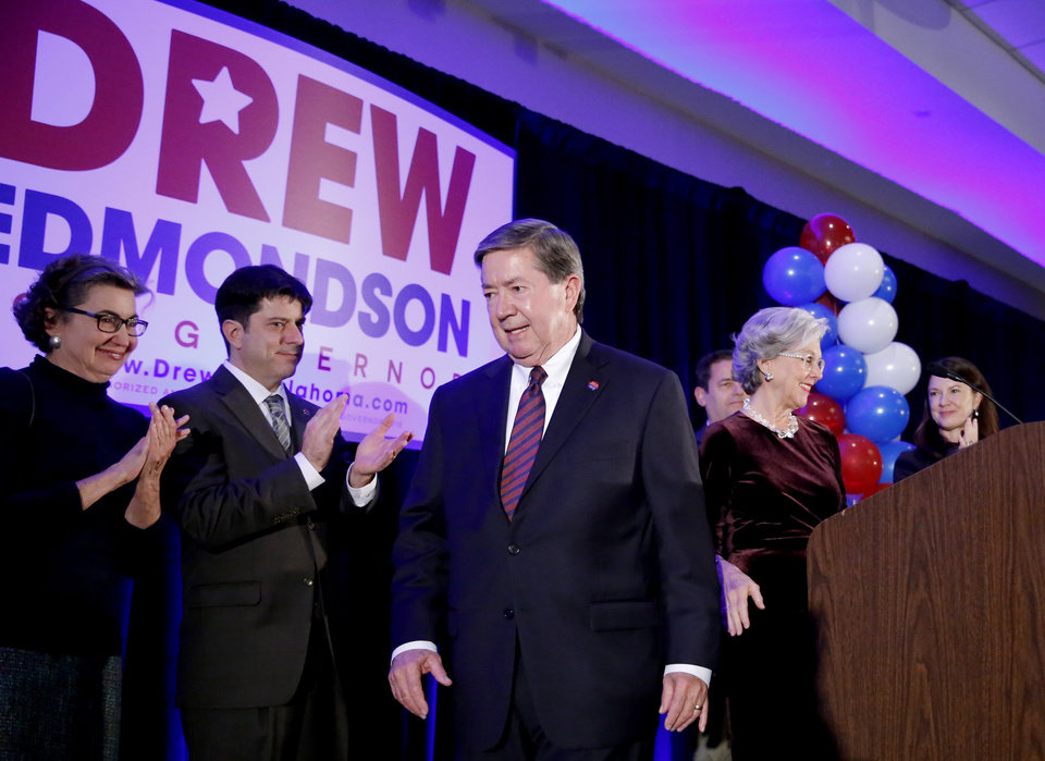 Photo - Drew Edmondson leaves the podium after giving a concession speech after losing the governor's race to Republican Kevin Stitt during a watch party for Drew Edmondson and the democratic party at the Embassy Suites  in Oklahoma City, Tuesday, Nov. 6, 2018. Photo by Sarah Phipps, The Oklahoman