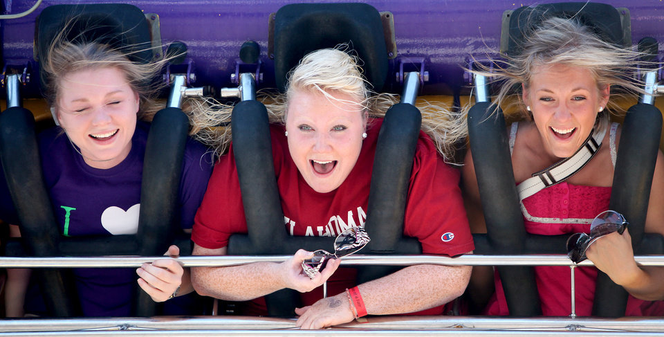 Photo - University of Oklahoma (OU) students Courtney Cormier, Hillary Elmore, and Caitlyn Tait, from left to right, react as they ride the Space Loop at the 2009 Oklahoma State Fair at State Fair Park in Oklahoma City on Sunday, Sept. 27, 2009.  By John Clanton, The Oklahoman ORG XMIT: KOD
