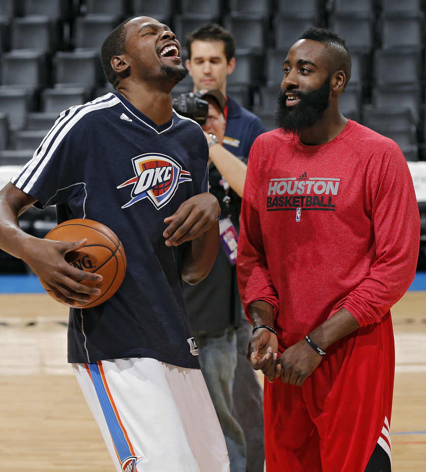 Oklahoma City's Kevin Durant and Houston's James Harden (13) joke around during shoot-around during the NBA basketball game between the Houston Rockets and the Oklahoma City Thunder at the Chesapeake Energy Arena on Wednesday, Nov. 28, 2012, in Oklahoma City, Okla.   Photo by Chris Landsberger, The Oklahoman