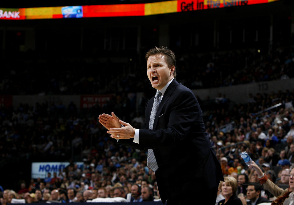 Photo - Oklahoma City head coach Scott Brooks argues a call  during the NBA game between the Oklahoma City Thunder and the Portland Trail Blazers, Sunday, Nov. 1, 2009, at the Ford Center in Oklahoma City. Photo by Sarah Phipps, The Oklahoman