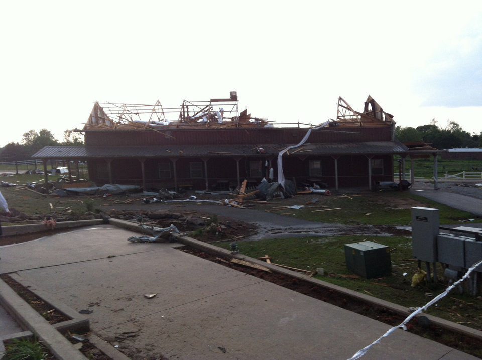 Photo - AFTER: The Main Barn at Orr Family Farm suffered  significant damage from the May 20 tornado that swept through the community. PHOTO PROVIDED BY ORR FAMILY FARM   - ORR FAMILY FARM