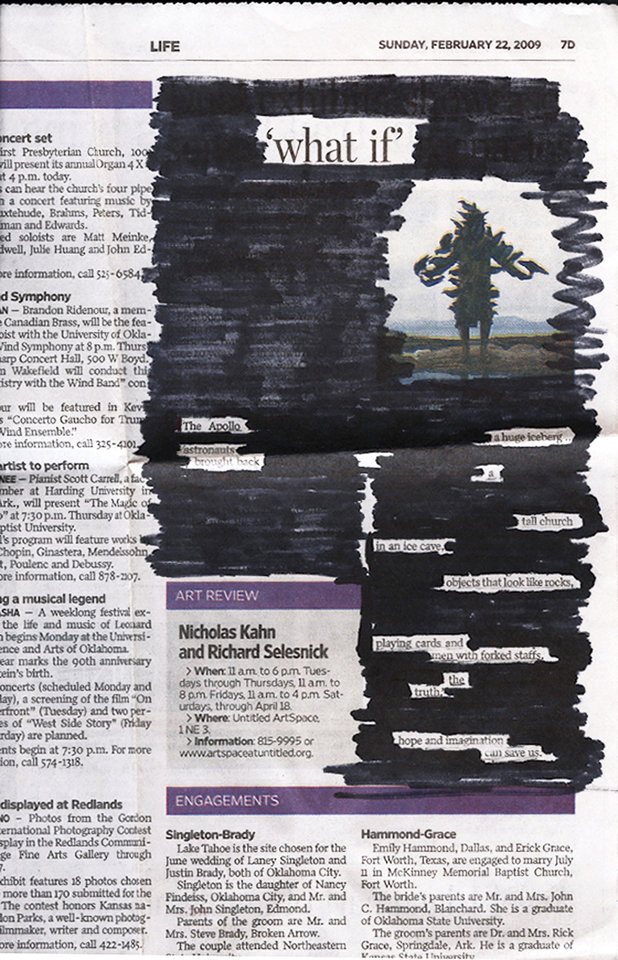 Photo - BLACKOUT POETRY CONTEST / POEM / WINNER / ADULT CATEGORY: